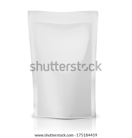 Blank foil or polythene bag for food: coffee, cocoa, sweets, olives, sauce. Packaging collection. Vector illustration. - stock vector