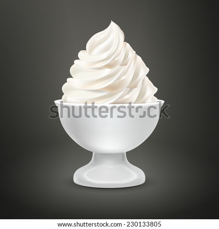 blank food container with milk ice cream isolated over black - stock vector