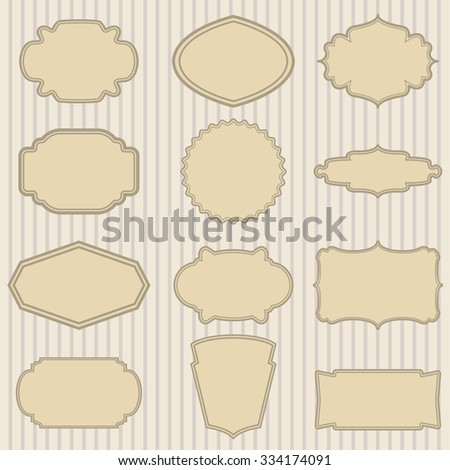 Blank frame and label set. Labels and badges design template.  Vector illustration. - stock vector