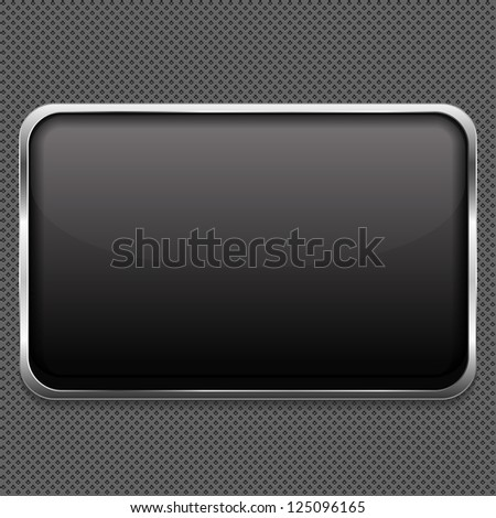 Blank frame on metal background, vector eps10 illustration - stock vector