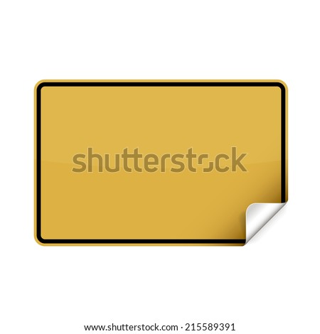 Blank german city sign sticker with curly corner. - stock vector