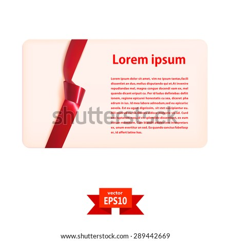 Blank gift card with a red silk ribbon and knot. Vector illustration - stock vector