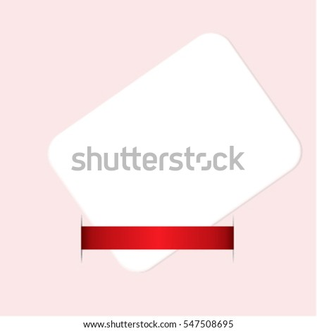 Blank gift or letter with red ribbon