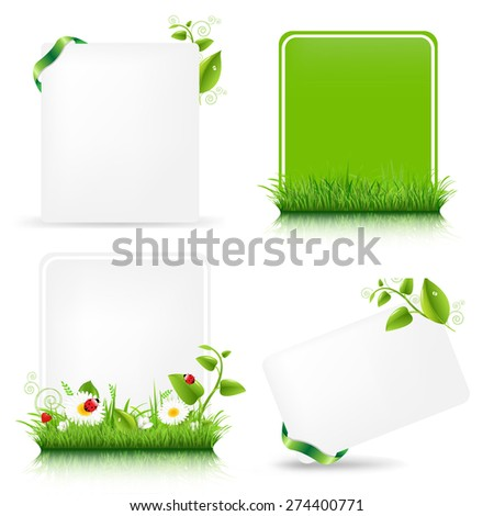 Blank Gift Tag With Green Leaves Set With Gradient Mesh, Vector Illustration - stock vector