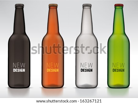 blank glass beer bottle for new design - stock vector