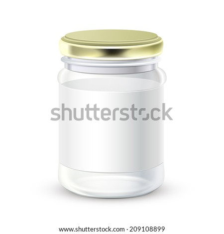blank glass bottle with label isolated over white background