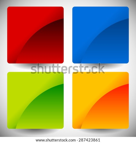 Blank glossy square buttons with rounded corners, vector. Set of 4 colors. Squares consist of 2 pieces. - stock vector