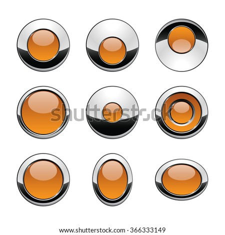 Blank gold orange web buttons for website or app. Vector - stock vector
