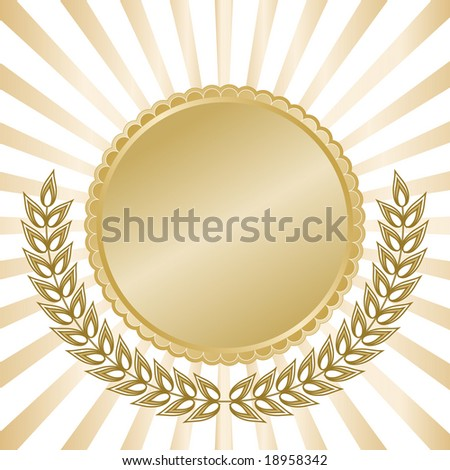 Blank gold seal with laurel leaves and glowing rays in background for anniversary or commemorative use. - stock vector