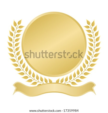 Blank gold seal with ribbon banner for award, quality assurance, anniversary, or commemorative use.
