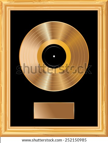 blank golden LP in golden frame  - stock vector