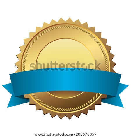 Blank golden quality label with blue banner vector template isolated on white background. - stock vector