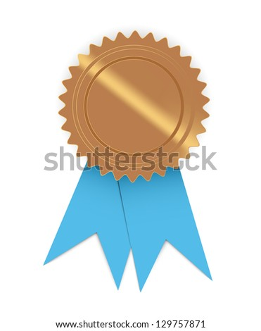 Blank golden seal with blue ribbon, ready for your text / seal with ribbon - stock vector