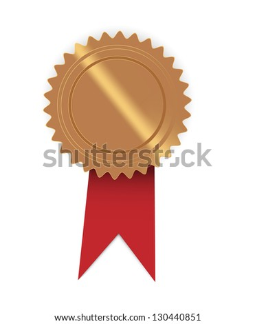 Blank golden seal with red ribbon, ready for your text / red ribbon seal - stock vector