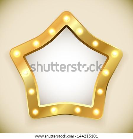 Blank golden star frame with light bulbs vector illustration. - stock vector