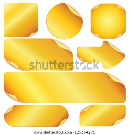 Blank Golden Stickers, Notes, Labels. Set of Vector Design Elements. - stock vector