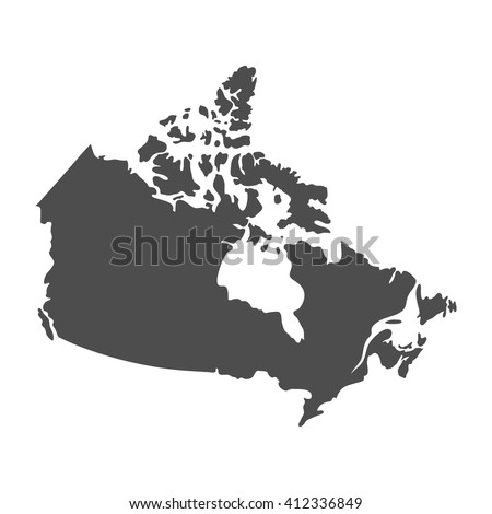Blank Gray Similar Canada Map Isolated On White Background North American Country Vector Template