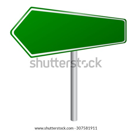 Blank Green Road Sign -  - Blank destination sign with destination information