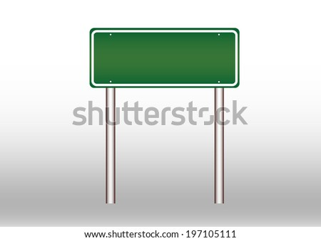 Blank green traffic road sign with post