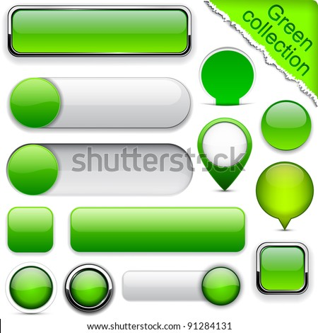 Blank green web buttons for website or app. Vector eps10. - stock vector
