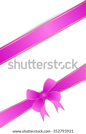 Blank Greeting Card With Purple Ribbon at white background  - stock vector