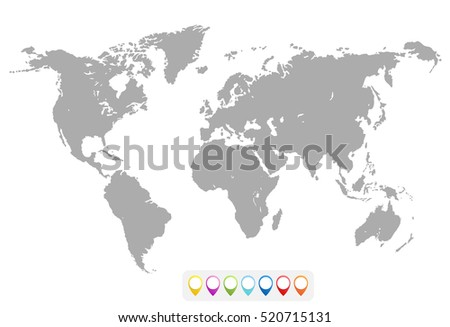 Blank Grey similar World map isolated on white background. Best popular World map Vector template. Flat Earth Graph World map illustration.
