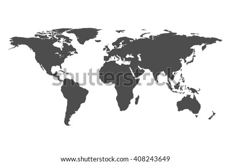 Blank Grey similar World map isolated on white background. Monochrome Worldmap Vector template for website, design, cover, annual reports, infographics. Flat Earth Graph World map illustration.
