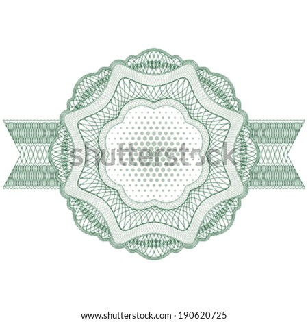 Blank guilloche label with ribbons. Ideal for certificate, diploma, voucher, currency and money design, banknote. / Stock vector / CMYK color / All lines and color are easy editable. - stock vector