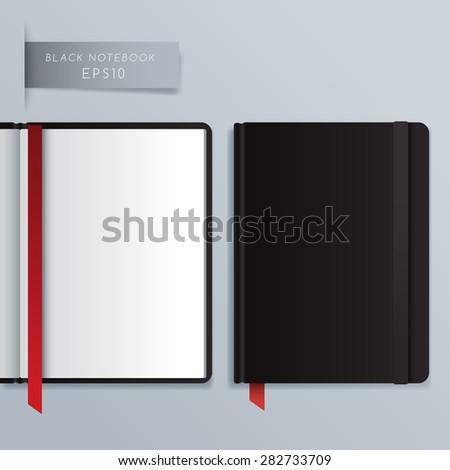 Blank Hardcover Notebook Template : Vector Illustration - stock vector