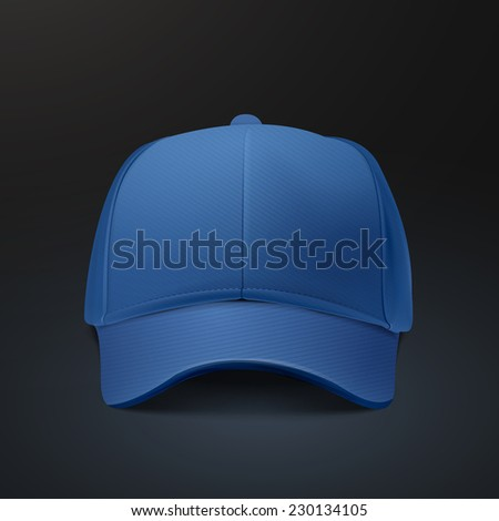 blank hat in blue isolated on black background - stock vector