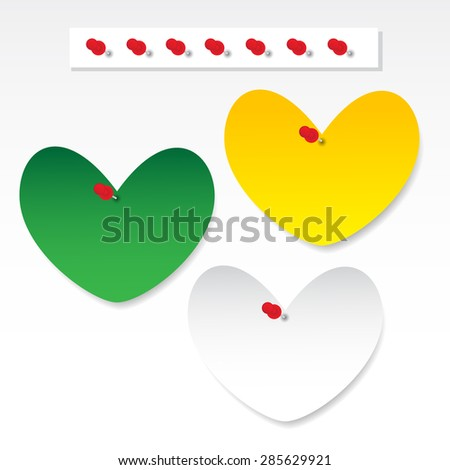 Blank heart paper note with pushpin on gray background - stock vector