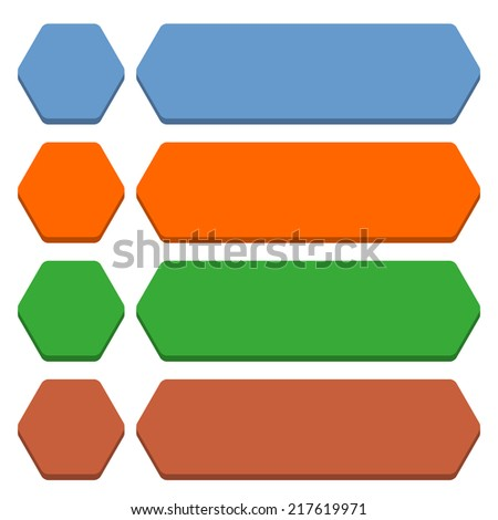Blank hexagon and rounded rectangle icon isolated on white background in flat style. Set 01 blue, orange, green, brown colors button. Vector illustration web design element in 8 eps - stock vector
