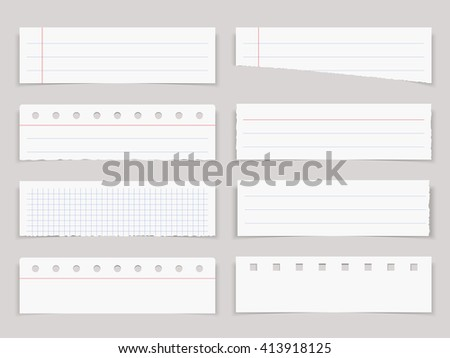 Blank horizontal paper sheets, notebook paper, vector eps10 illustration