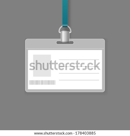 Blank ID badge vector template isolated on grey background. - stock vector