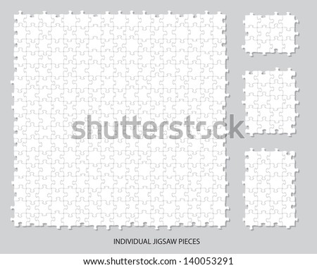 Blank individual jigsaw pieces that can be moved, colored or filled to suit your own artwork. - stock vector