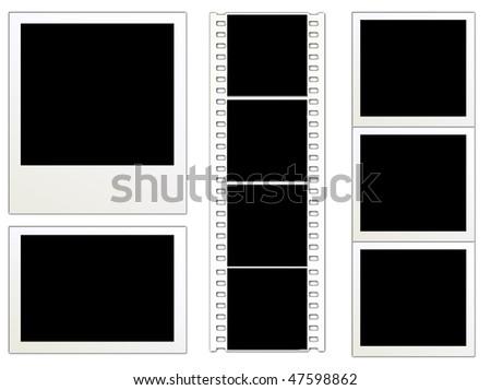 Blank instant photo frames and filmstrip on white background