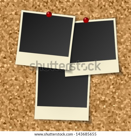 blank instant photos hang on cork board with pushpins - stock vector