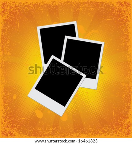 Blank instant photos on grunge backgound. Vector element for design.