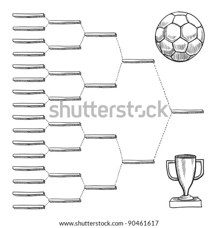 Blank international soccer playoff bracket - vector file with doodle style - stock vector