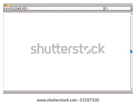 Blank internet browser with navigation arrows and slider - stock vector