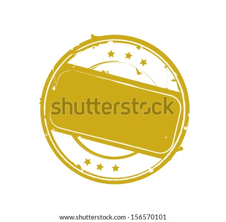 Blank isolated retro gold rubber stamp VECTOR - stock vector