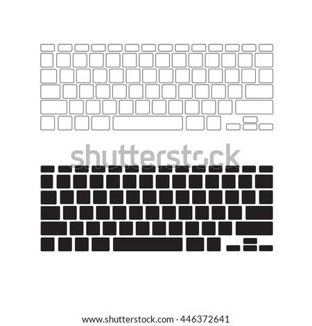 Blank keyboard layout, Computer input element - stock vector