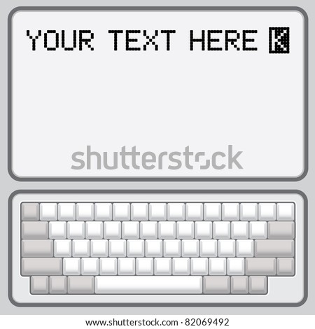 blank keyboard retro layout - realistic illustration - stock vector