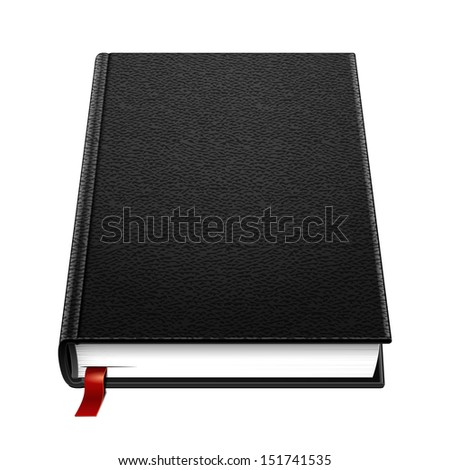 Blank Leather Hardcover Black Book With Bookmark. Illustration Isolated On White Background. Vector EPS10  - stock vector