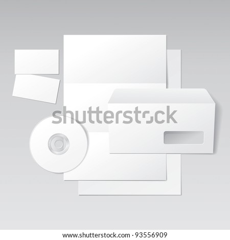 Blank Letter, Envelope, Business Cards and CD. Design Template for Corporate ID Presentation. Vector Illustration - stock vector