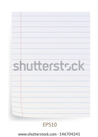 Blank line paper isolated on white. Vector illustration.