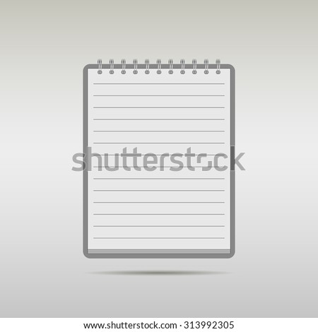 blank lined notebook - stock vector