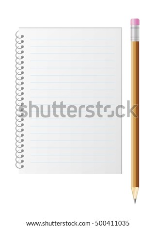 Blank lined paper and pencil with eraser. Illustration with writing tools isolated on white background.