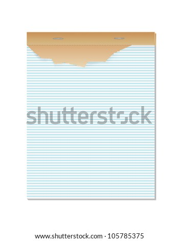 Blank lined paper notebook - vector illustration