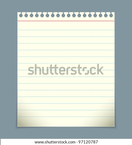 Blank linked notepad paper sheet - stock vector